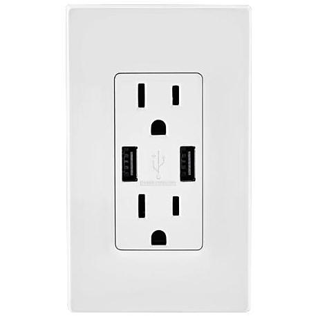 Leviton White USB/15A-20A Double Wall Receptacle