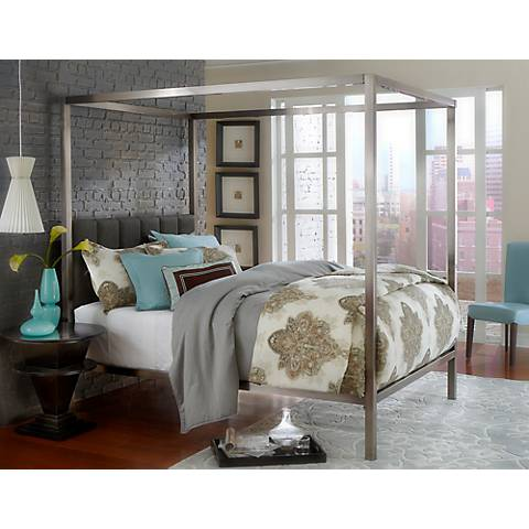 Hillsdale Chatham Matte Antique Nickel Canopy Bed