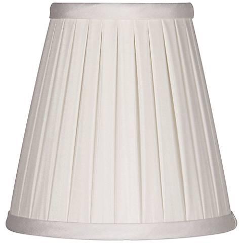 Off-White Box Pleat Chandelier Silk Shade 3x5x5 (Clip-On)