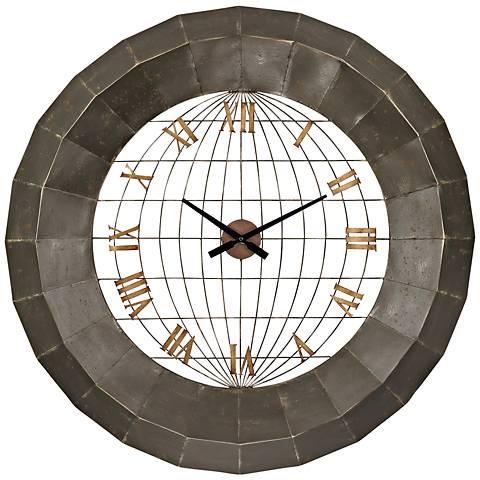 "Yardley 34"" Round Metal Wall Clock"