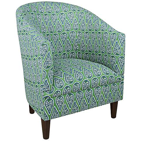 Anya Kelly Green Cotton Fabric Tub Chair