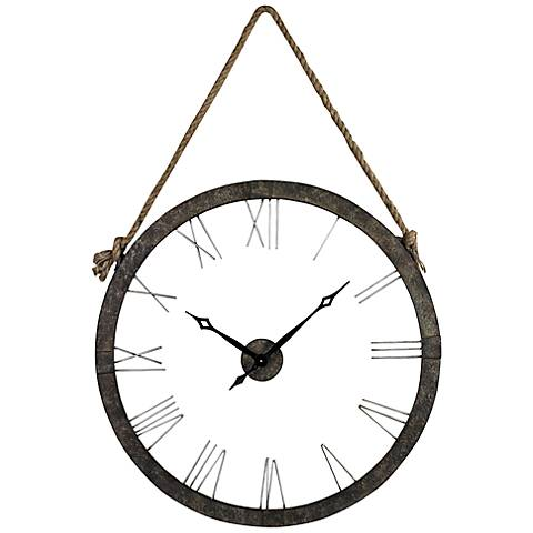 "Radford Metal and Rope 36"" Round Hanging Wall Clock"