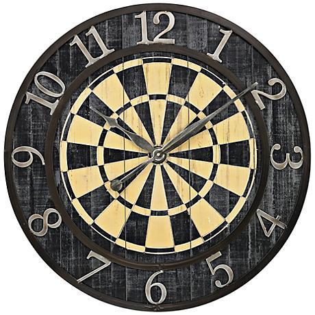 "Dart Board 24"" Round Wall Clock"