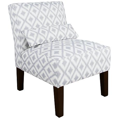 Fret Pewter Ikat Armless Accent Chair