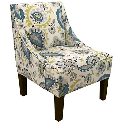 Ladbroke Peacock Fabric Swoop Arm Chair