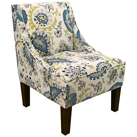 Ladbroke Peacock Fabric Swoop Arm Chair