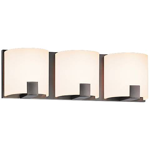 "Sonneman C-Shell 16"" Wide Satin Nickel LED Bathroom Light"