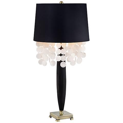Possini Euro Design Audra Capiz Spray Black Table Lamp