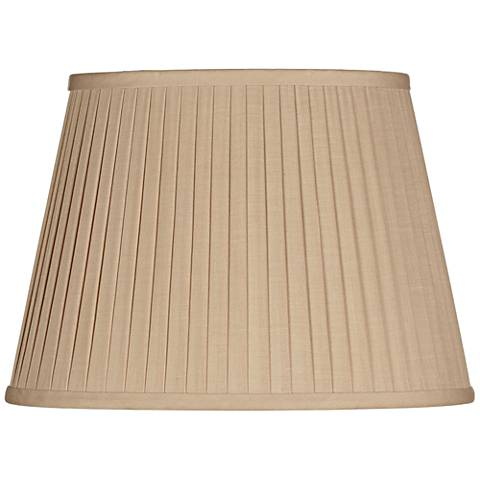 Beige Knife Pleat Oval Linen Shade 9/5x12/8x9 (Spider)