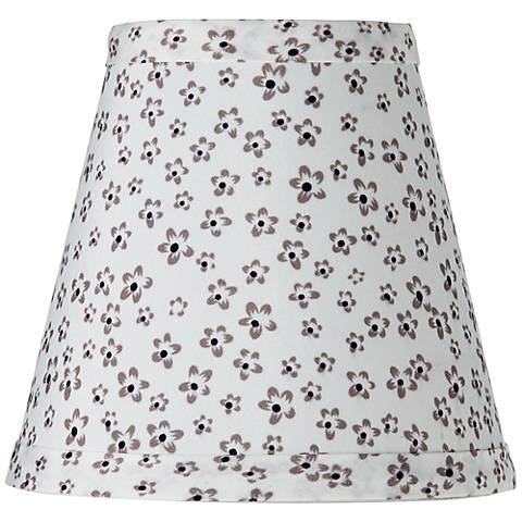White Daisy Print Bell Lamp Shade 3.25x5.5x5 (Clip-On)