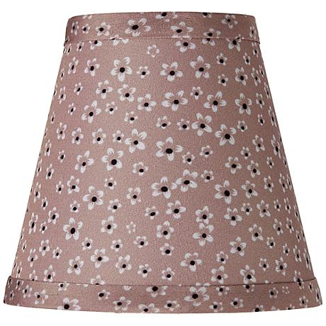 Taupe Daisy Print Bell Lamp Shade 3.25x5.5x5 (Clip-On)