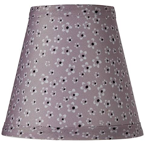 Gray Daisy Print Bell Lamp Shade 3.25x5.5x5 (Clip-On)