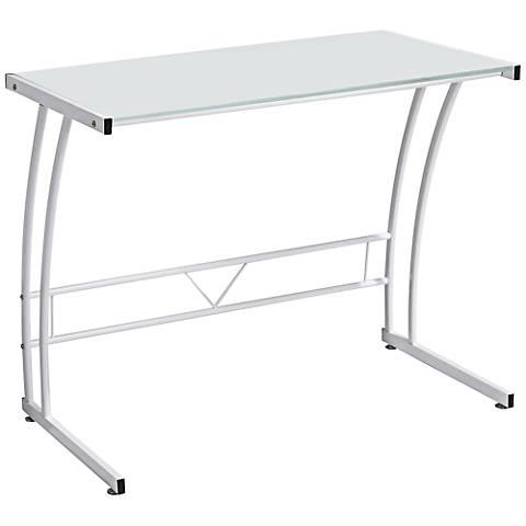 Sigma Tempered Glass Top White Desk