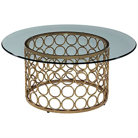 Carnaby Modern Lux Gold Round Cocktail Table