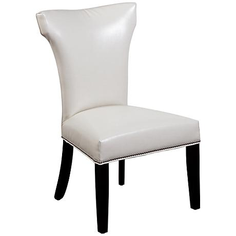 Nelson Ivory Vinyl Shaped Parsons Chair