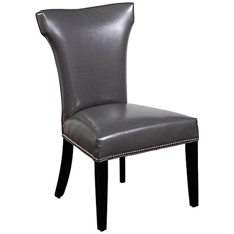 Nelson Dark Gray Vinyl Shaped Parsons Chair