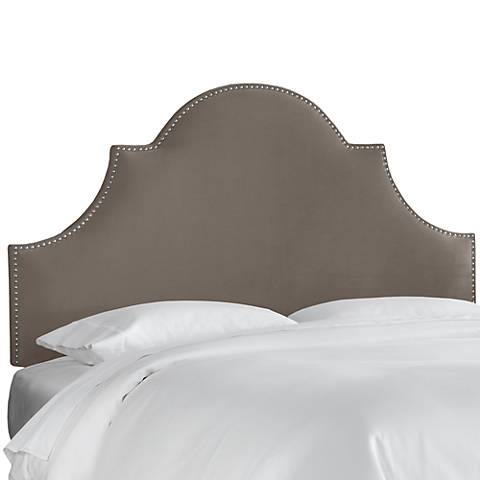 Regal Smoke Fabric Notched Headboard