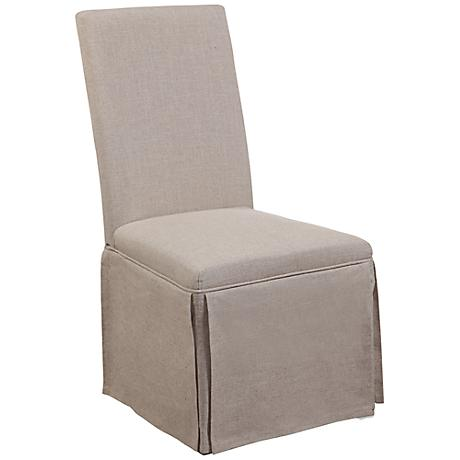 Stiers Natural Linen Skirted Parsons Chair