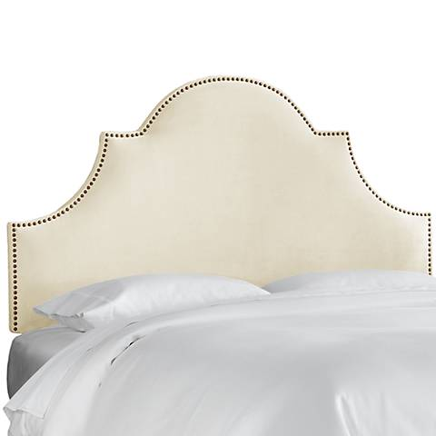 Regal Antique White Fabric Notched Headboard