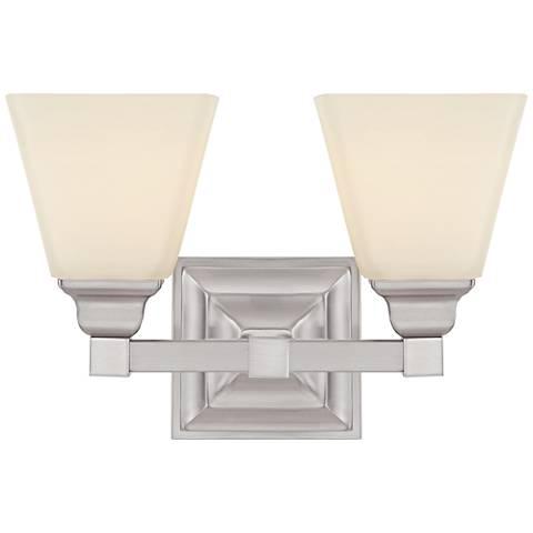 """Mencino Satin Nickel 2-Light 12 3/4"""" Wide Bath Light"""
