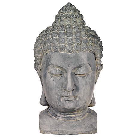 "Buddha Head Cast Resin 18 1/2"" High Outdoor Statue"