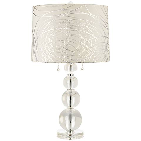 Abstract Silver Circles Stacked Crystal Spheres Table Lamp