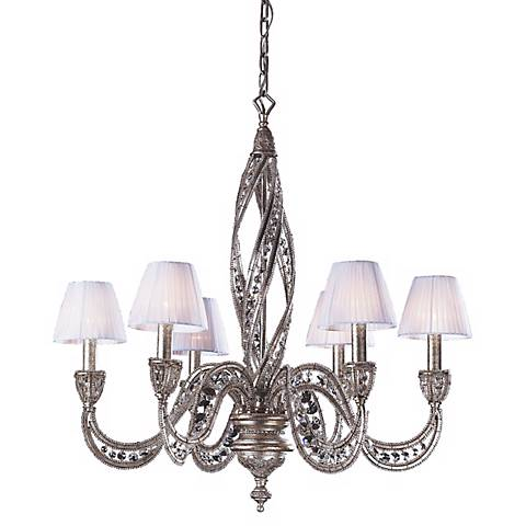 Genoese Collection Sunset Silver Finish Six Light Chandelier