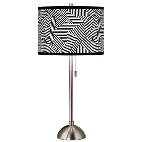 Labyrinth Giclee Brushed Steel Table Lamp
