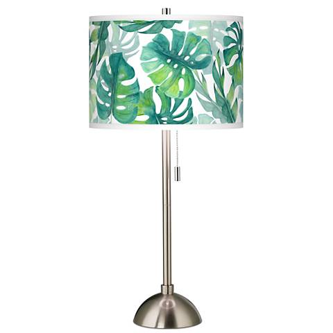 Tropica Giclee Brushed Steel Table Lamp