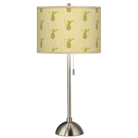 Pineapple Delight Giclee Brushed Steel Table Lamp