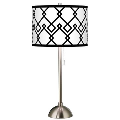 Diamond Chain Giclee Brushed Steel Table Lamp