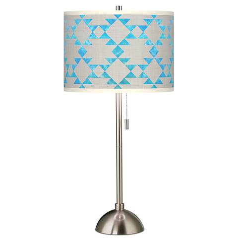 Desert Aquatic Giclee Brushed Steel Table Lamp