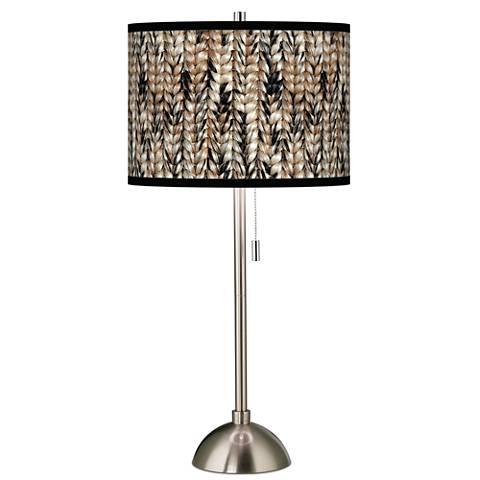 Braided Jute Giclee Brushed Steel Table Lamp