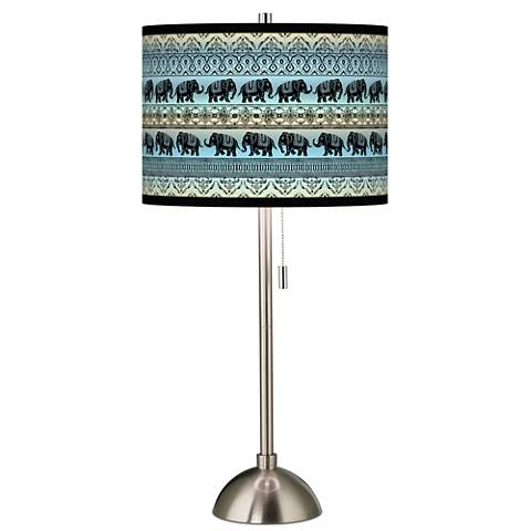 Elephant March Giclee Brushed Steel Table Lamp