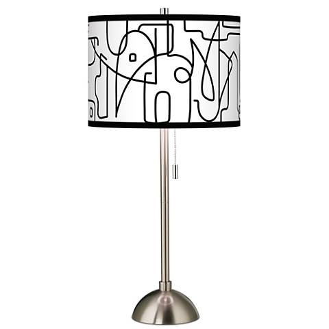 Scribble World Giclee Brushed Steel Table Lamp