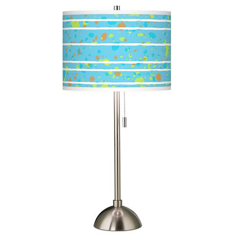 Paint Drips Giclee Brushed Steel Table Lamp