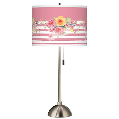 Country Rose Giclee Brushed Steel Table Lamp