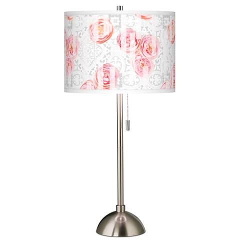 Rose Blush Giclee Brushed Steel Table Lamp