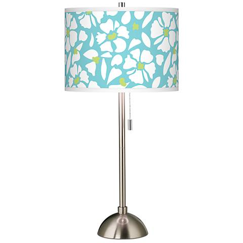 Floral Fun Giclee Brushed Steel Table Lamp