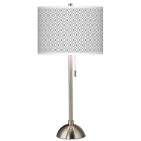 Diamonds Giclee Brushed Steel Table Lamp