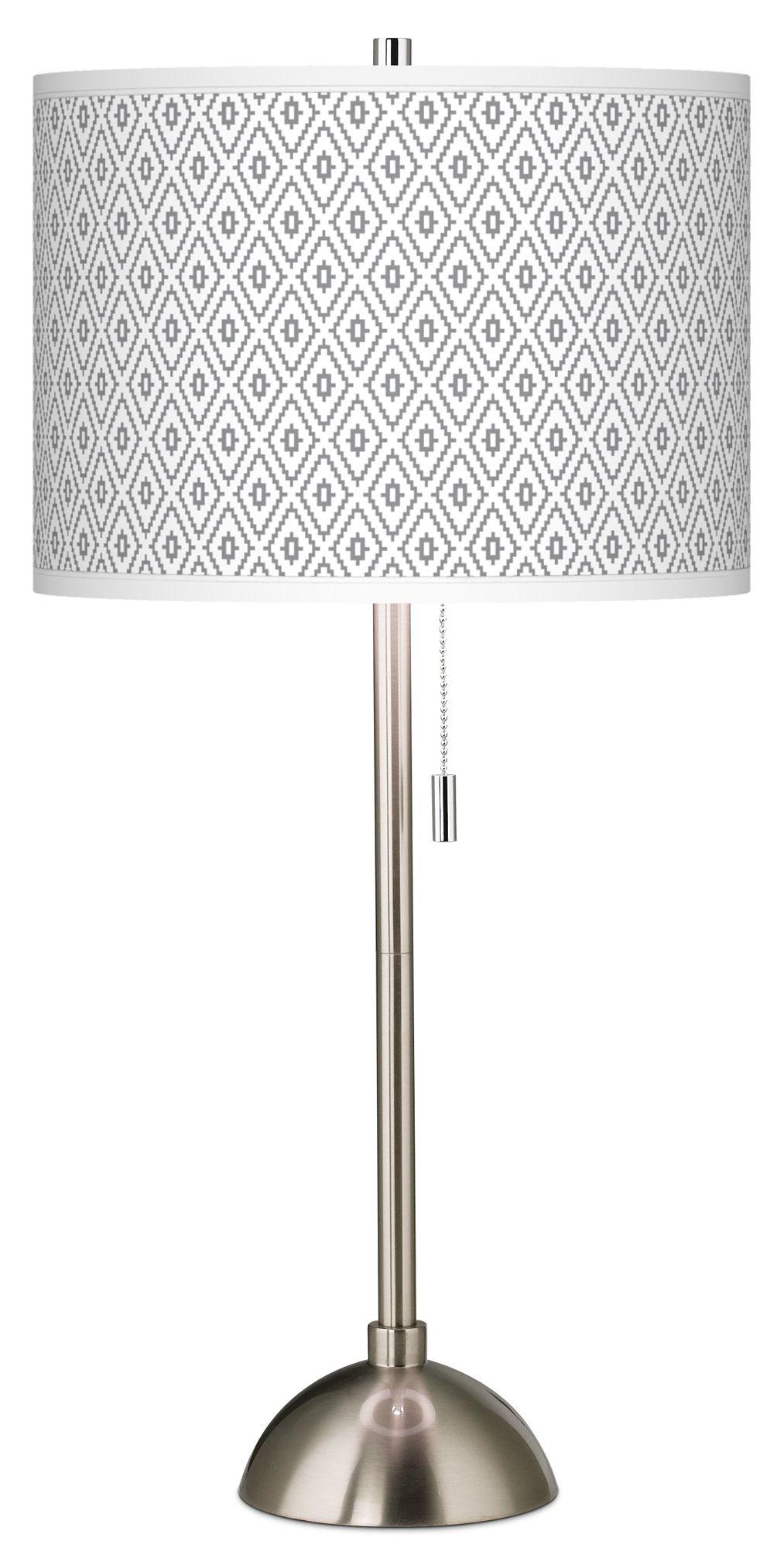 Diamonds Giclee Brushed Steel Table Lamp