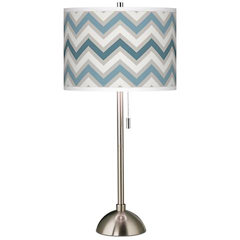 Wave Zig Zag Giclee Brushed Steel Table Lamp
