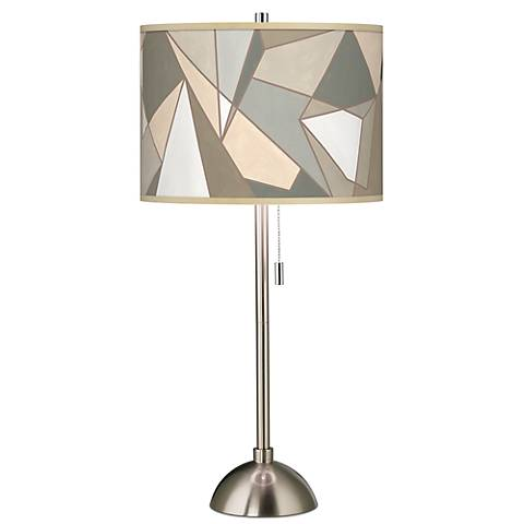 Modern Mosaic I Giclee Brushed Steel Table Lamp