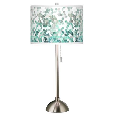 Aqua Mosaic Giclee Brushed Steel Table Lamp