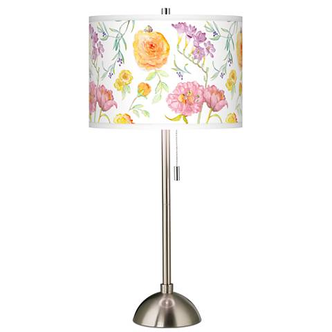 Spring Garden Giclee Brushed Steel Table Lamp