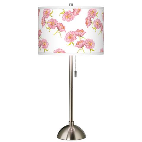 Pretty Peonies Giclee Brushed Steel Table Lamp