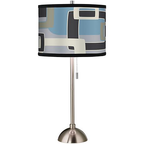 Retro Lithic Rectangles Giclee Brushed Steel Table Lamp