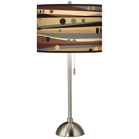 Natural Dots and Waves Giclee Brushed Steel Table Lamp