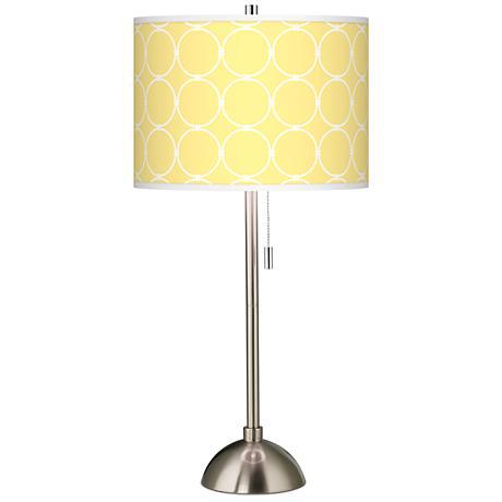 Lemon Interlace Giclee Brushed Steel Table Lamp