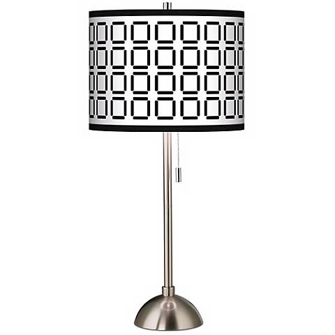 Open Grid Giclee Shade Table Lamp